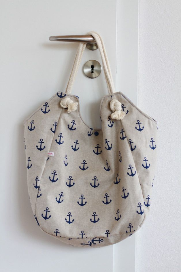 "Maritime Canvastasche: Riesen-Shopper ""Ahoi"", Strandtasche mit Ankermotiv / maritime shopper for summer, shoulder bag with anchor print made by Sahneschmittchen via DaWanda.com"