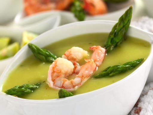 Scampi alla crema d'asparagi - Ricetta