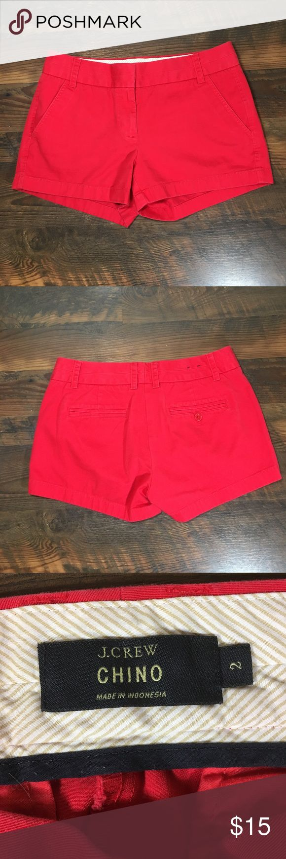 "J. Crew Chino red 3"" shorts 61456 size 2 Waist 15"", rise 8.5"", inseam 3"". It's always warm and sunny somewhere, so everyone's favorite classic chino short is back in a slew of bright colors.  Cotton. Zip fly. Machine wash. Import. Item 61456. J. Crew Shorts"