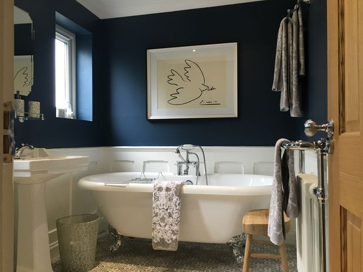 Farrow & Ball Stiffkey Blue bathroom Laura Ashley Mr Jones charcoal tiles