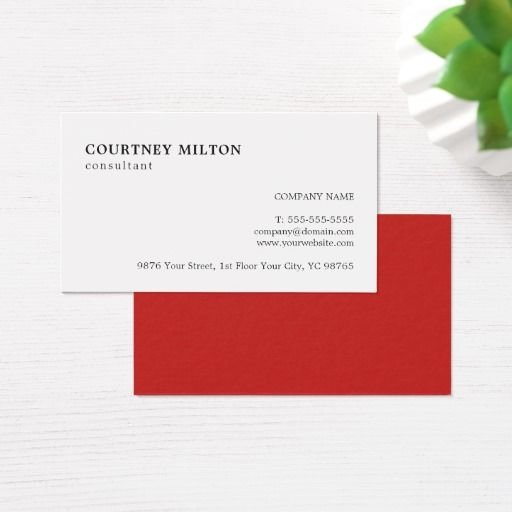 301 best white and red business cards images on pinterest black simple elegant red white consultant business card reheart Gallery