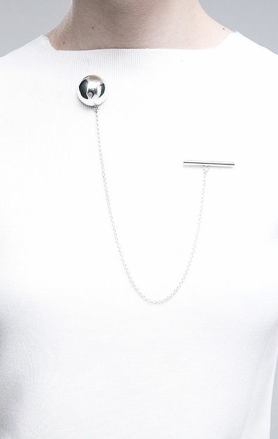 Silver ball brooch on anchor chain, bold minimalist jewellery // Absence of Noise