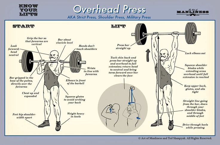 How to do an overhead press. Good form, good tips. Mostly, I just dig this cartoon strongman's mustache.