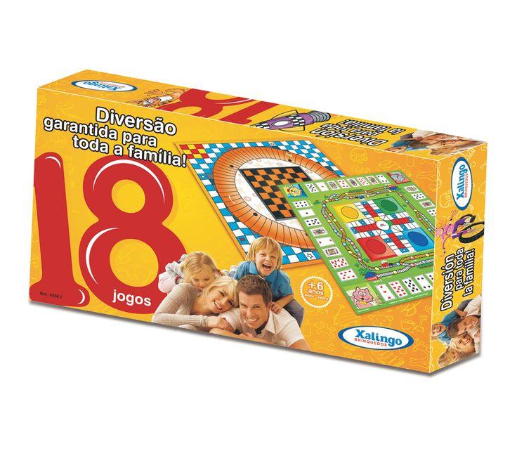6558.7 - 18 Jogos | Corrida de Obstáculos, Viagem de Foguete, Prova de Natação, Caça ao Coelho, Caça à Raposa, Jogo da Velha, Jogo Indiano, Pulo do Gato, Destino, Voo, Damas, Esquinas, Corrida de Iates, Jogo dos Desejos, Jogo da Ferrovia, Corrida de Bicicletas, Corrida de Cangurus e Quebra-Cabeça Solitário. | Faixa Etária: +6 anos | Medidas: 36 x 4 x 20 cm | Jogos e Brinquedos | Xalingo Brinquedos | Crianças
