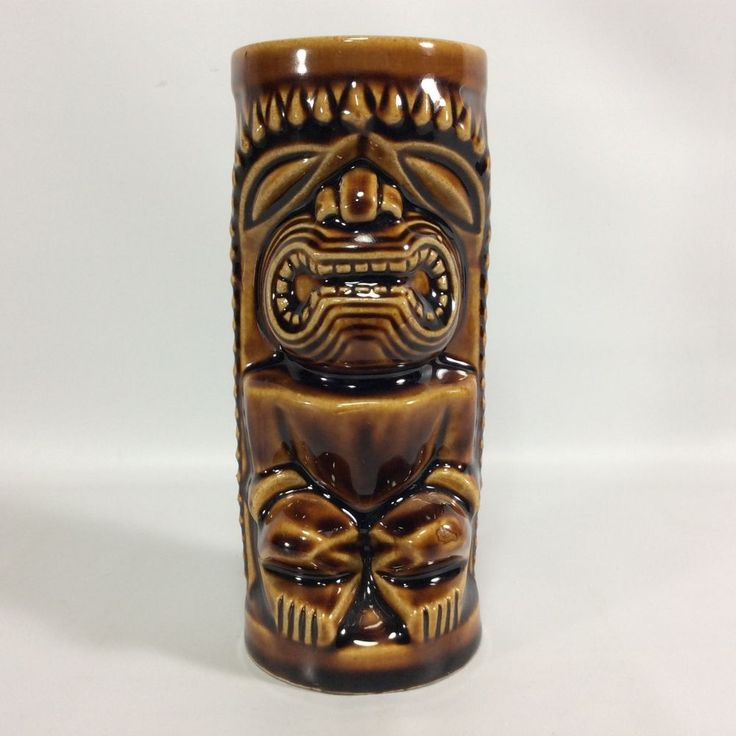 Orchids of Hawaii Vintage Tiki Mug R-74 Japan Brown Ceramic Barware Tumbler Cup