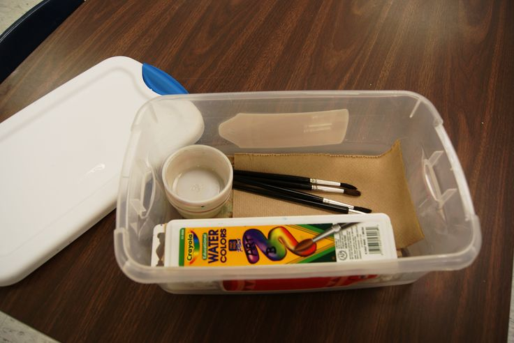 """What a """"ready"""" watercolor box should look like. We really hit this hard when we start, and I have a visual reminder of a """"ready"""" box and a messy box each time we set up our paint stations. The supply managers organize them and replenish the napkins before it goes back on the shelf."""