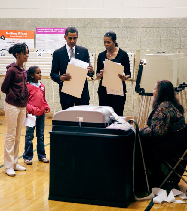 """""""Casting our ballots for Barack in 2008 was such a special moment for our family. The girls were so proud of their dad."""" –mo #kidsvote"""