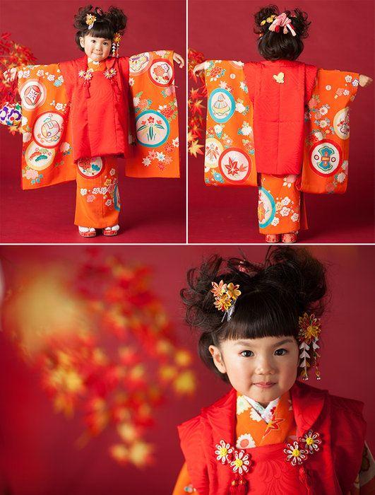 【三歳】おはりばこの七五三レンタル衣裳♪正絹アンティーク着物で七五三!!【紅梅色地牡丹柄祝い着】