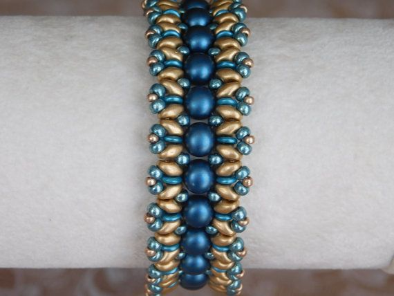 Bead Bracelet Tutorial, Beading Pattern, Superduo, 2-hole Cabochon, Beadweaving, Czech O-beads, PDF, Instant Download, Instructions, DYI