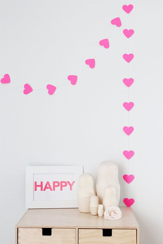 Heart Garlands, Neon Garlands, Paper Heart, Wedding Photos, Happy Heart, Pink Hearts, Neon Pink, Garlands Diy, Diy Wedding