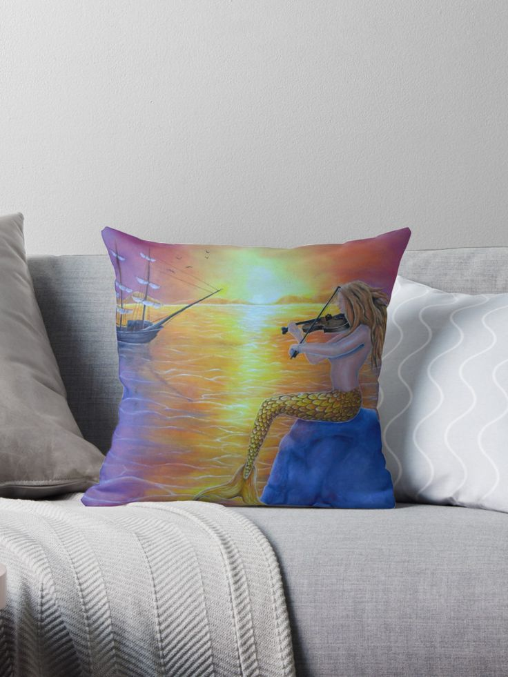 orange, living room, decor, for sale, mermaid, fantasy, seascape, magical, sunset, sailboat, Throw Pillow