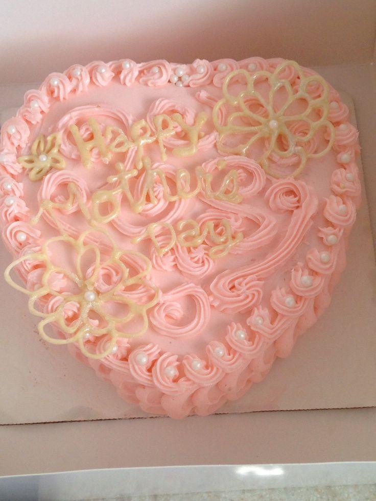 Heart Shaped Chocolate Cake Decorating Ideas : Mother s Day heart shaped cake with white chocolate ...