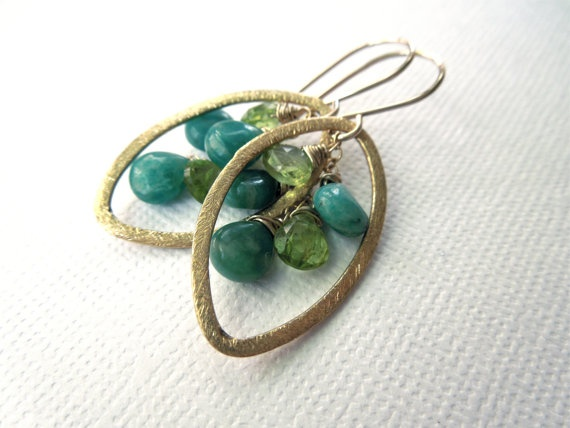 Brushed Gold Earrings with Amazonite and Peridot by GemsByWendyB, $44.00