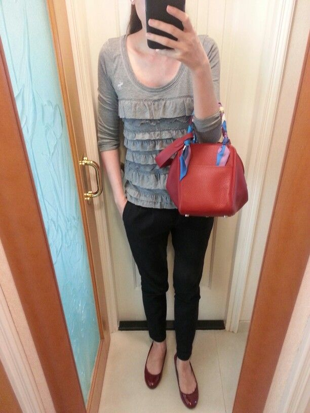 AnF ruffled top, Zara pants, red patent leather flats, Hermes ...