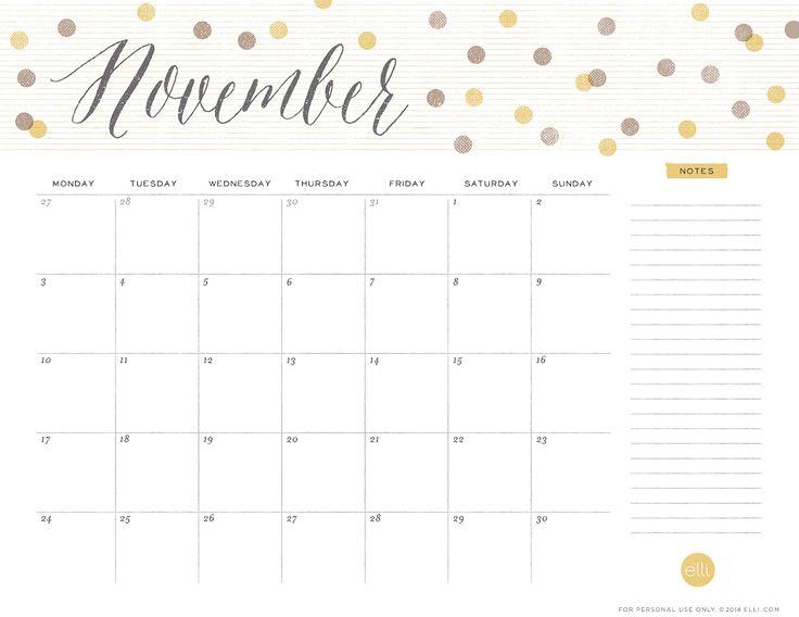 cute november 2015 calendar