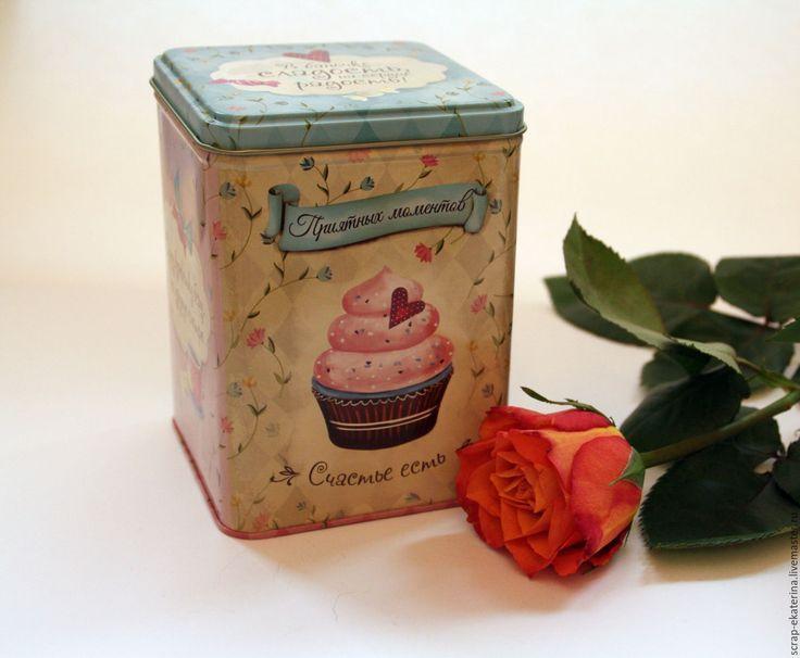 Купить Металлическая (жестяная) банка - комбинированный, бежевый, бежевый цвет, розовый, розовый цвет, кекс