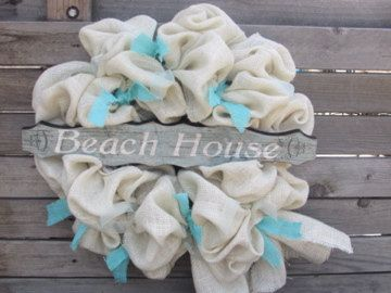 24 Beach Burlap Wreath Burlap Wreath Beach by CreativeSpacesbyGina