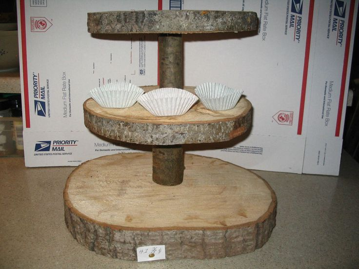 DIY Log Slice 3 tier Cupcake Stand Server Rustic Wedding Banquets Party Home Use #naturalaspen