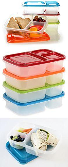 Sectioned Tupperware. EasyLunchboxes 3-Compartment Bento Lunch Box Containers, Set of 4, Classic.  #sectioned #tupperware #sectionedtupperware