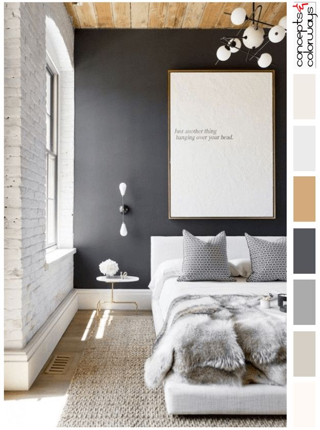 Good Modern Loft Bedroom With Color Palette, Rustic Maple Wood Paneled Ceiling,  Bare Bulb Wall