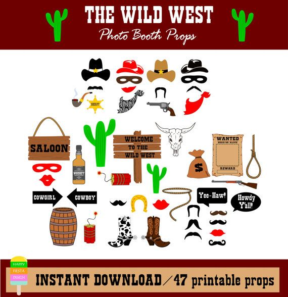 Cowboy Photo Booth Props – Wild West Photo Booth–Western Photo Booth Props-Printable Cowboy Props - DIY Western Photobooth- Instant Download