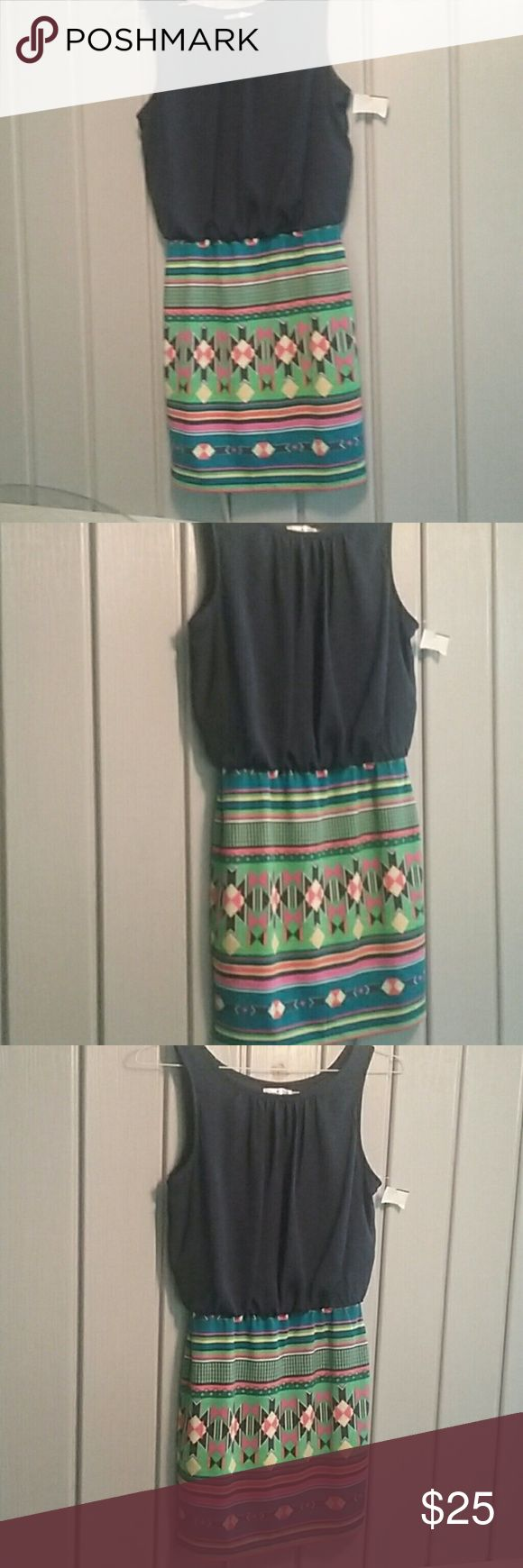 Cute Aztec Dress! Navy blue top and exciting vibrant Aztec print skirt.  This dress is brand new and is versatile for Any occasion. Dresses Midi