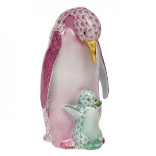 Herend Penguin and Baby - Pink/Green