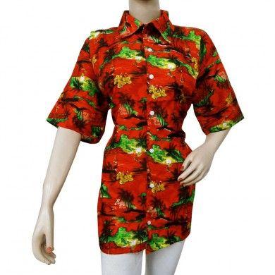Unisex Hawaiian Shirt Palm Tree Hibiscus Flower Red Tropical Vacation Shirt Sz 2X