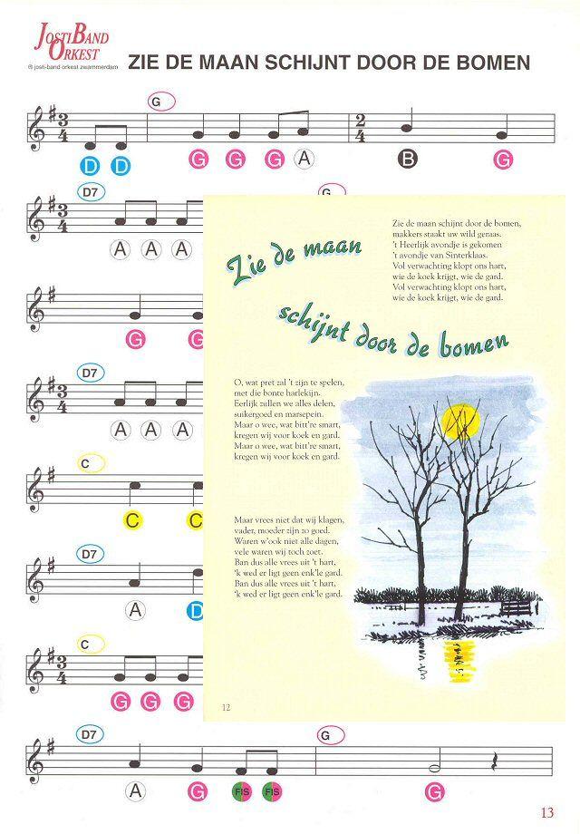Muzieknotatie - 21 Sinterklaas Liedjes - Zie de maan schijnt door de bomen