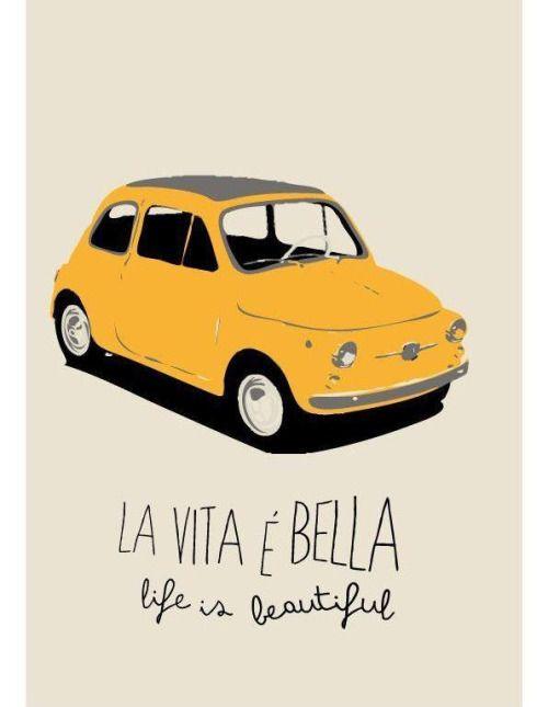 Italy Fiat 500 poster  #TuscanyAgriturismoGiratola
