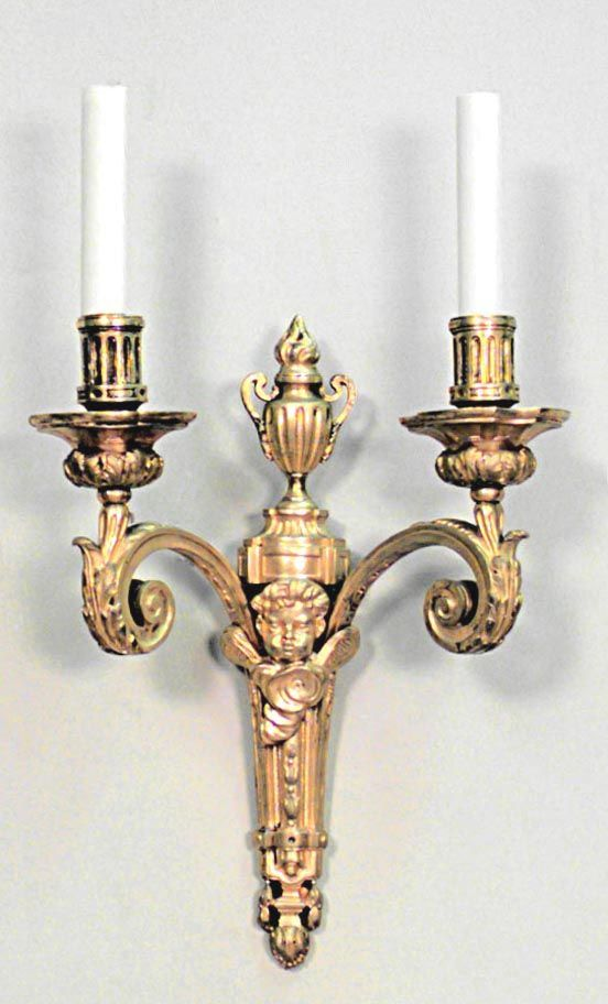 181 best wall sconces images on pinterest chandeliers light french louis xvi style cent bronze dore scroll 2 arm wall sconce with cupid head and urn top aloadofball Images