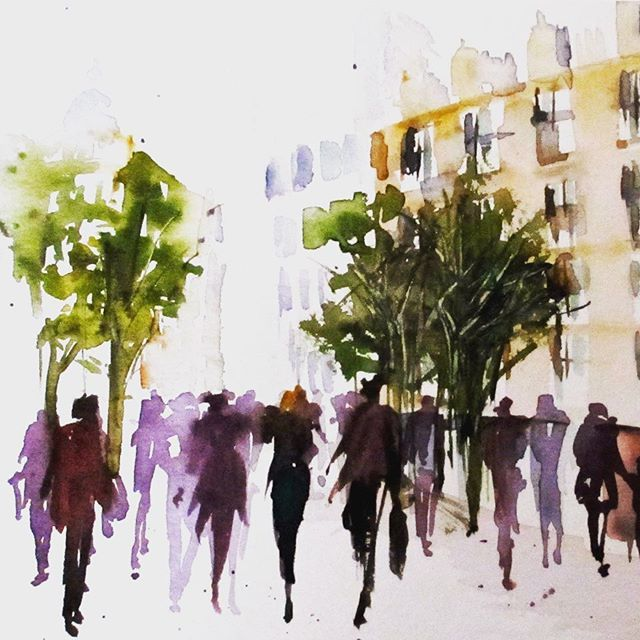 People And The City Watercolorart Urbanstyle Watercolorpainting