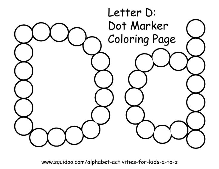 letter d coloring pages preschool black | letter d dot marker coloring page 1 | Learning | Pinterest ...