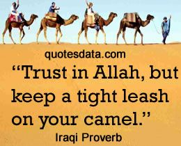 Trust in Allah, but keep a tight leash on your camel.  - Popular Iraqi Proverbs
