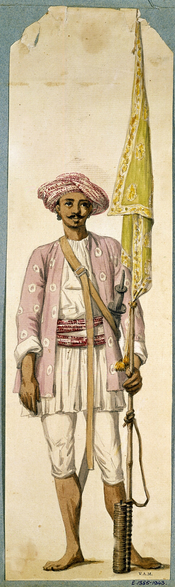 Soldier of Tipu Sultans army, India.  Tipu Sultan (TheTiger of Mysore) November 1750 to May 1799 was the ruler of the Sultanate of Mysore. He was the son of Hyder Ali, at that time an officer in the Mysorean army, and his second wife, Fatima or Fakhr-un-Nissa. During Tipu's childhood, his father rose to take power in Mysore, and Tipu became rule of the kingdom upon his father's death. In addition to his role as ruler, he was a scholar, soldier, and poet. He was murdered by the British in…