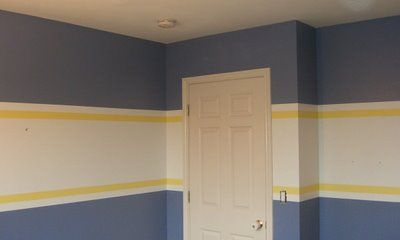 Striped walls. She gives good instructions on how she did it.Based Colors, Color Schemes, Stripes Bedrooms, Brooks Room, Painting Colors Ideas, Stripes Walls Boys, Harrison Room, Colors Schemes, Blue Stripes