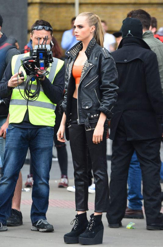 """Cara Delevingne shooting for """"Rimmel London"""" at 'King Cross St. Pancras Station' in London!"""