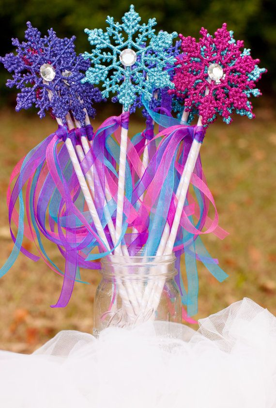 Frozen Birthday Party Snowflake Wands Centerpiece Table Decoration set of 10