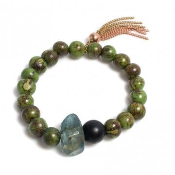 Simba green beaded bracelet by Donatella Pellini. Wood, resin, Handmade in Italy. Ref. FB02360RG-use up my green turquoise beads and chunks of lapis