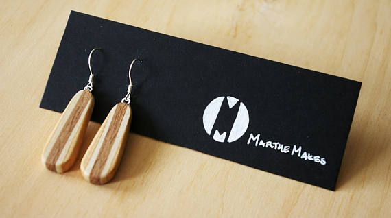 Love these multicolored wooden earring made out douglas-fir, maple, and oak!  Check out this item and many others in my Etsy shop https://www.etsy.com/ca/listing/574531476/multicoloured-teardrop-oval-wooden