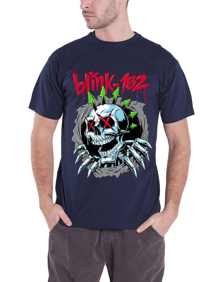 Blink 182 T Shirt Ripper Chrome Skeleton Face Band Logo Mens Blue - Paradiso Clothing