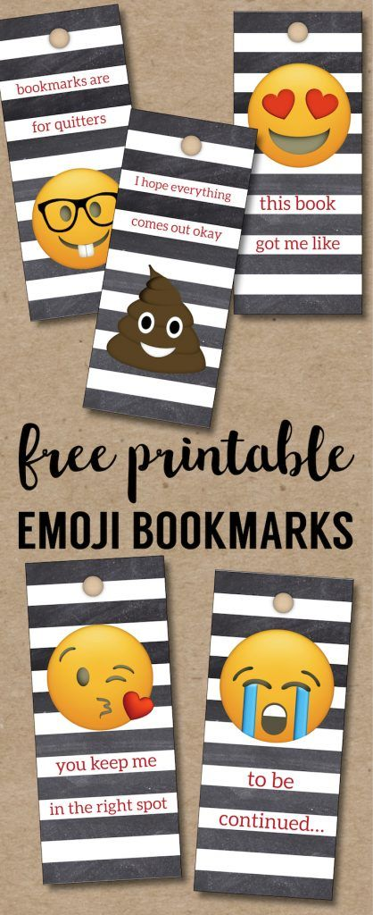 Emoji Bookmarks - Free Printable Bookmarks. DIY Free printable Valentine's Day bookmarks or back to school printable bookmarks for reading. #papertraildesign #emoji #freeprintables #emoji #diyemoji
