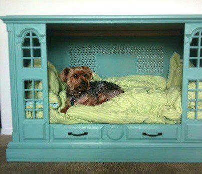 dog bed made from vintage console tv cabinet