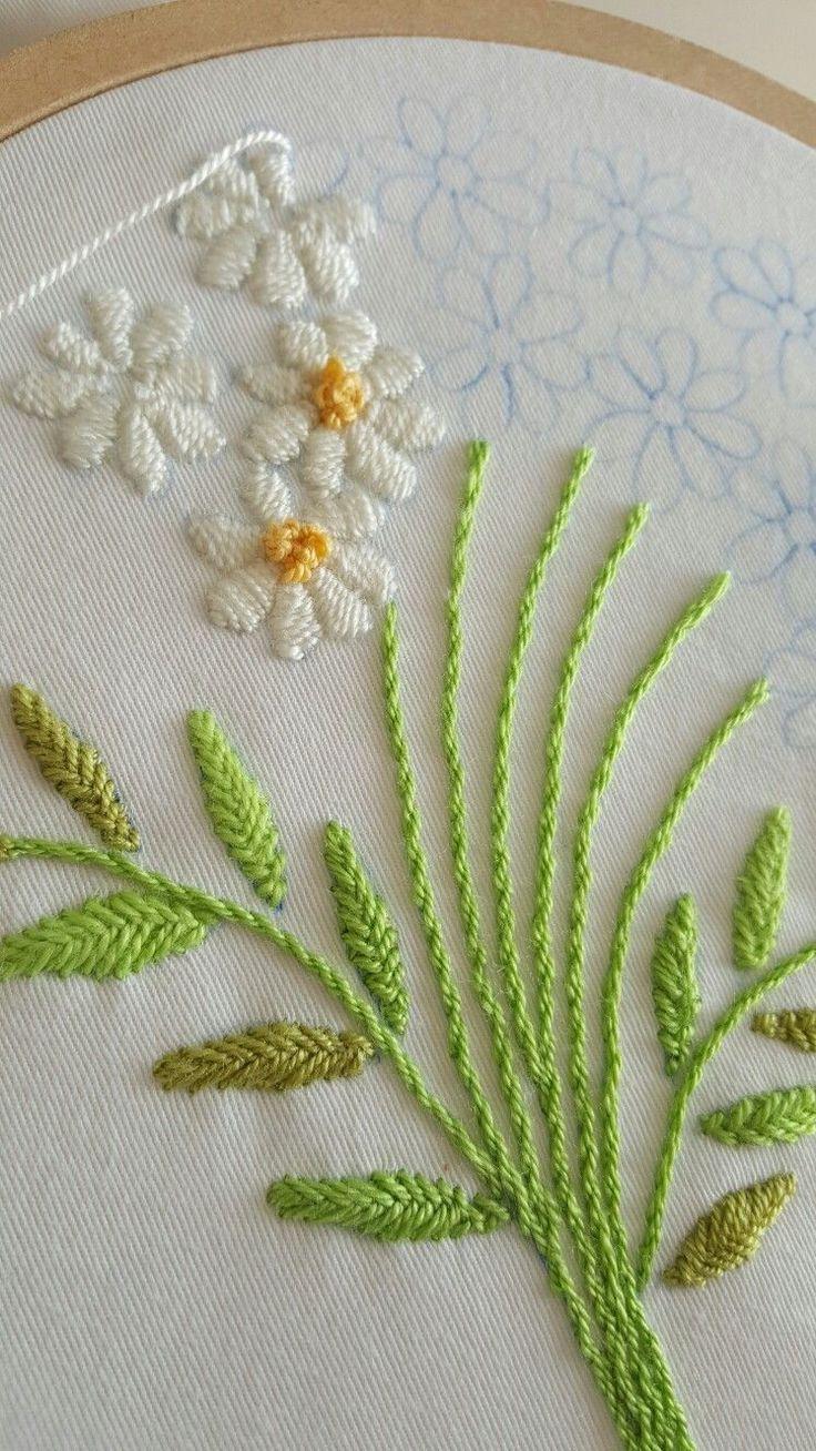 Bulky stitch. Flowers.