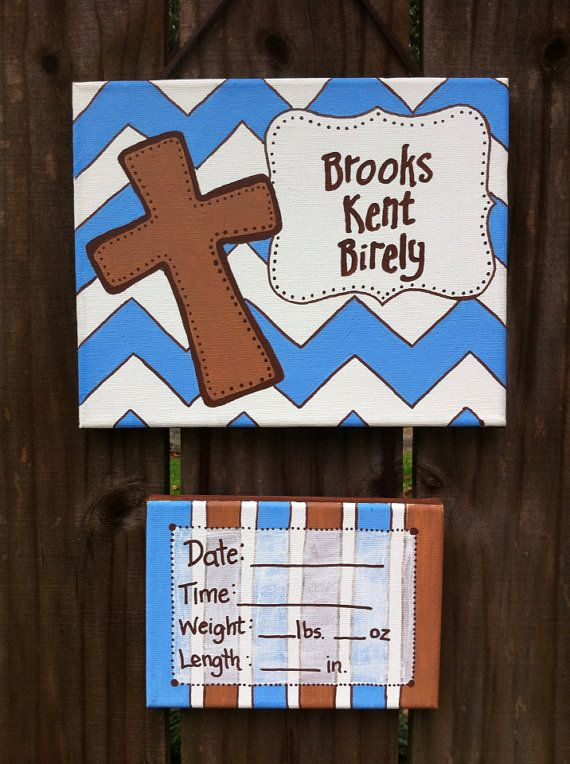 Baby door sign, hospital door, cross, baby boy on Etsy, $30.00