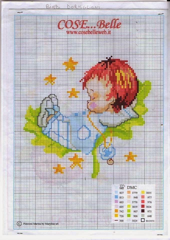 Transversal esquemática puntada Bebé que duerme | Hobby empleos femeninos - Bordado - crochet - tejido