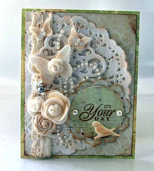 General card section Shabby Card...with paper lace doily & embellishments...by Sherry White (Seasons of Change).