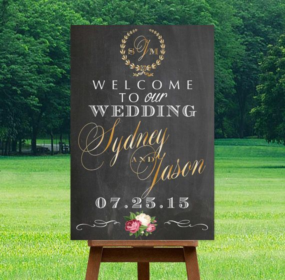 rintable Wedding Welcome Sign, Personalized Sign, DIGITAL Sign, Names & Date, Personalized Sign, Choose Colors, Gold, Silver, Chalkboard