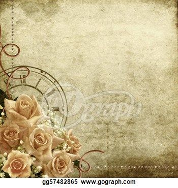 """""""Retro vintage romantic background with roses and clock"""" - Vintage Stock Photo from Go Graph"""