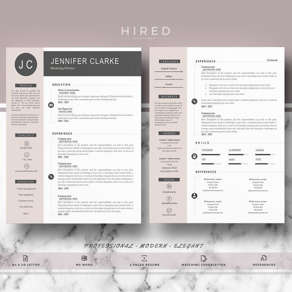 Professional & Modern Resume Template for Word: Jennifer   - 100% Editable. - Instant Digital Download. - US Letter & A4 size format included. - Mac & PC Compatible using Ms Word.